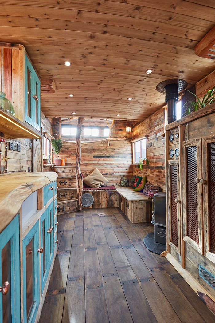 Vintage interior in tiny house on wheels