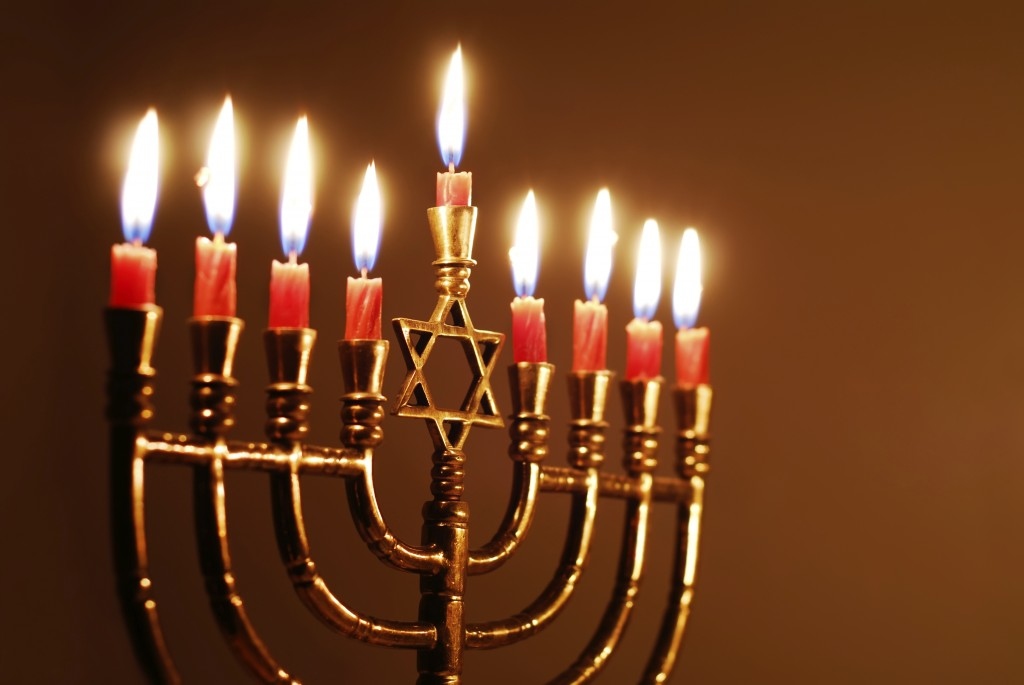 Nine-branched candelabrum lit