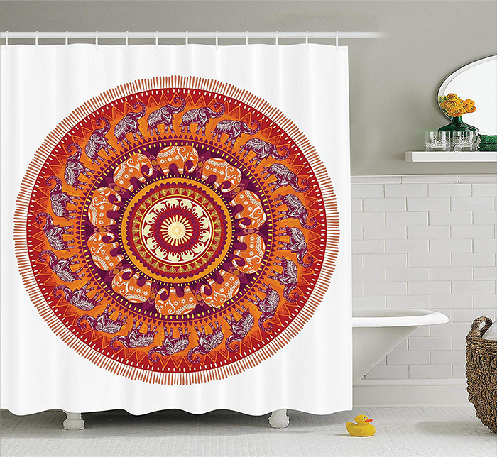 Bath curtain with tribal motives