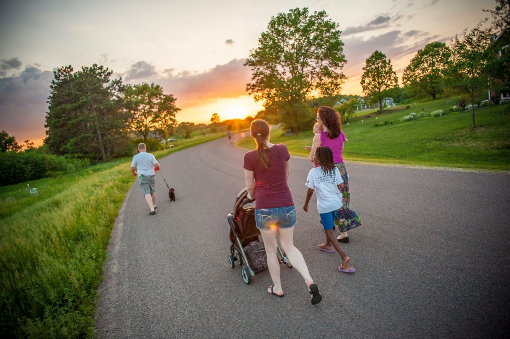Family walking on a spring evening