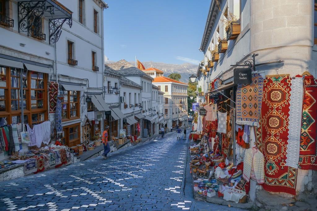 Street in Gjirokastër with traditional shops