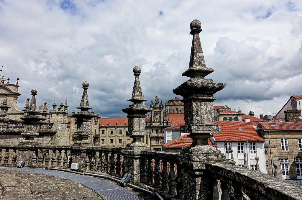 Balcony and a beautiful view on the city Santiago de Compostela