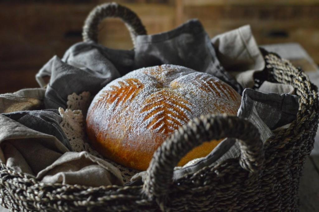 Croatian Easter bread in a bread basket