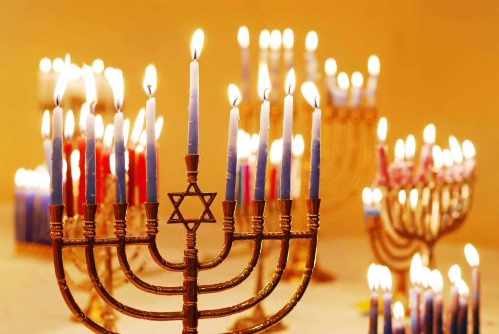 Hanukkah lighting menorah