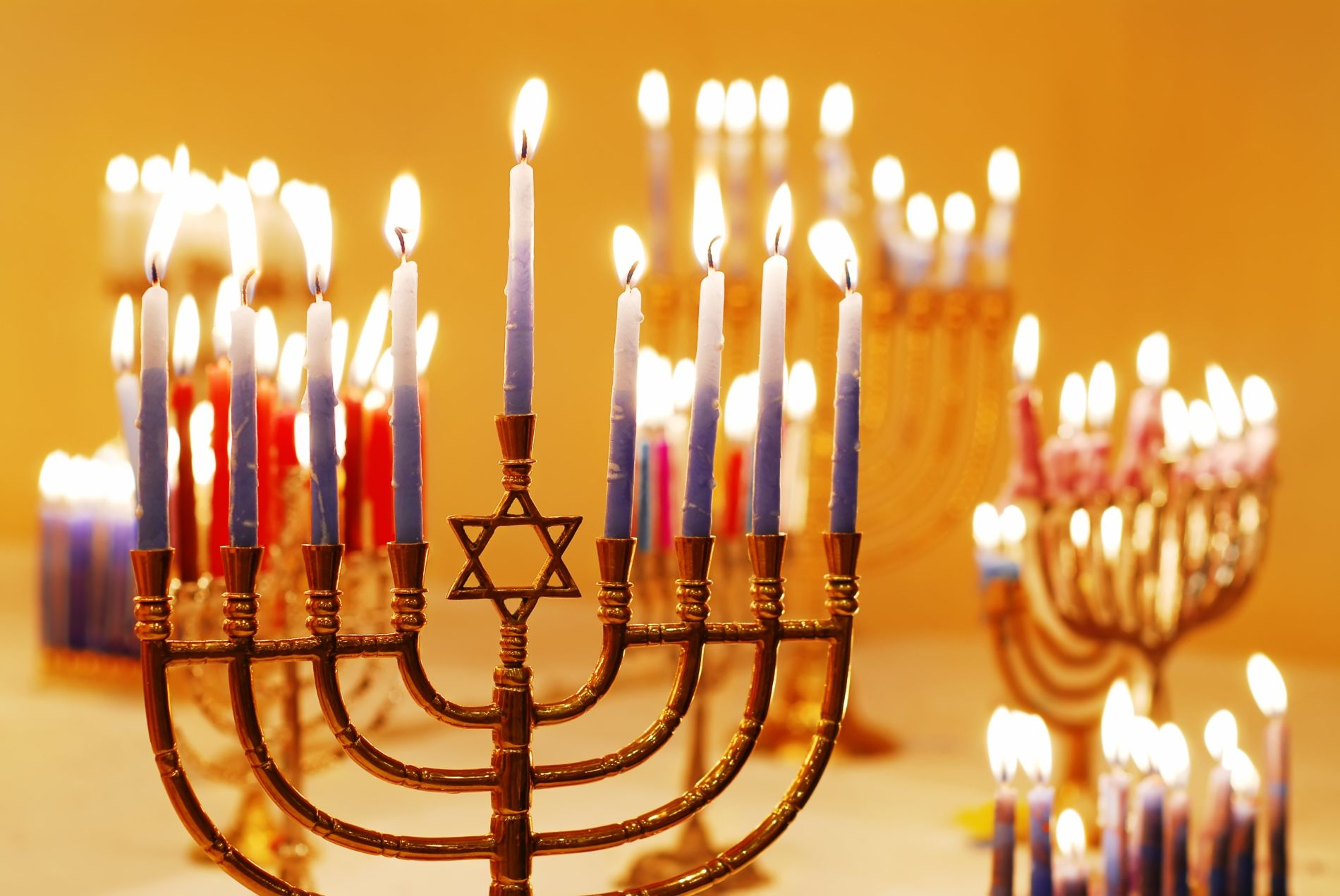 Hanukkah lighting menorah