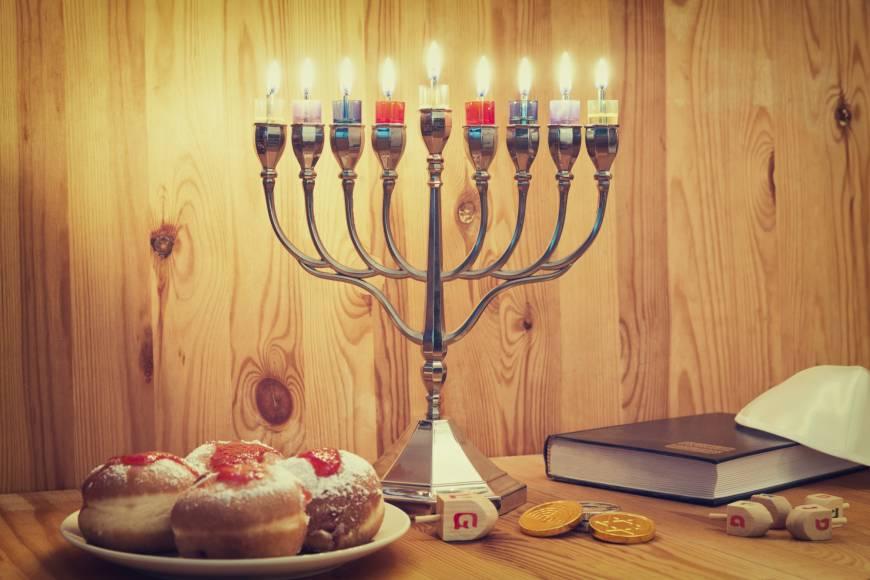 Hanukkah candles and sweets