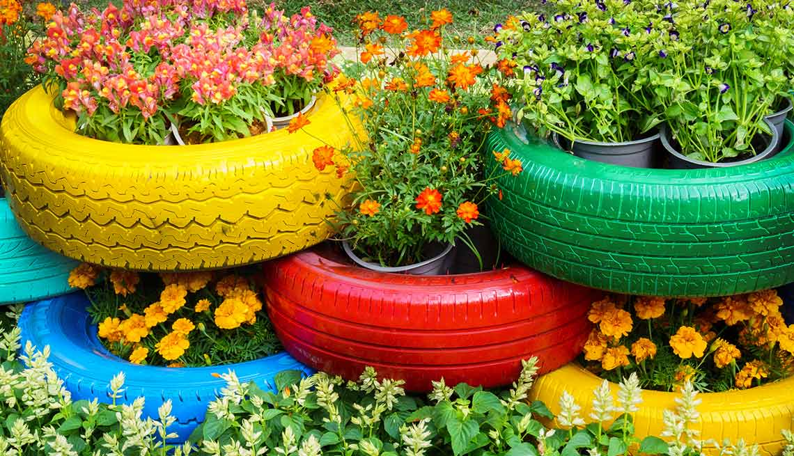 Tires used as holders for flowers