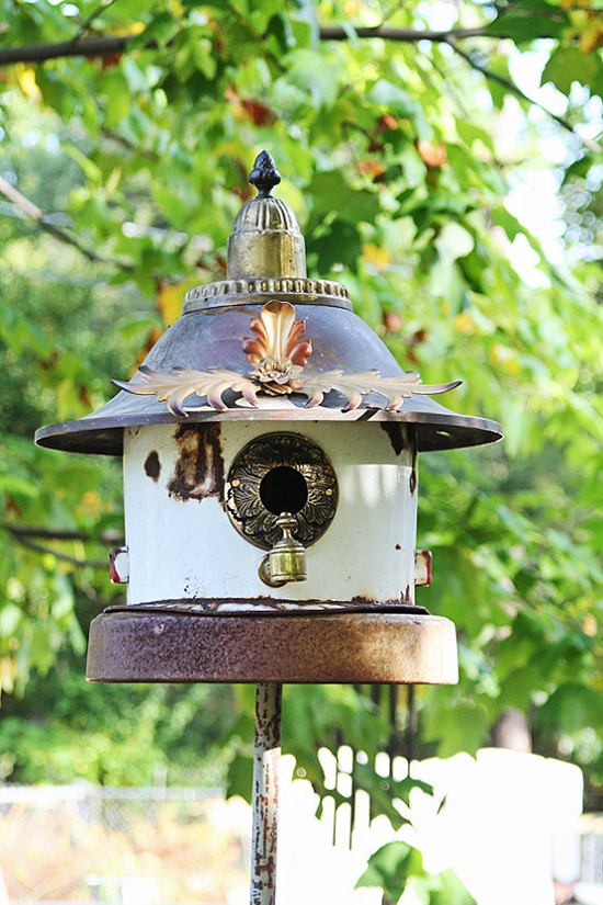 Kettle bird house with a ring on it and placed in the nature