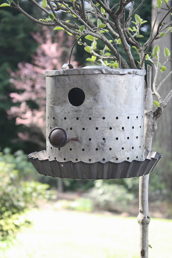 Creative bird house hanging on a tree