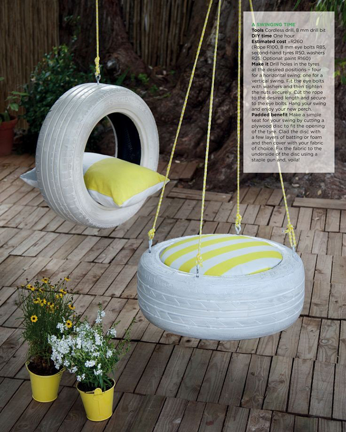 Two tire swings in the patio