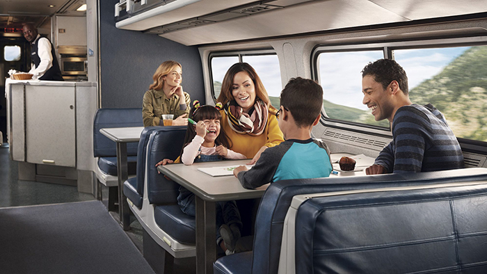 Family with two kids traveling by train