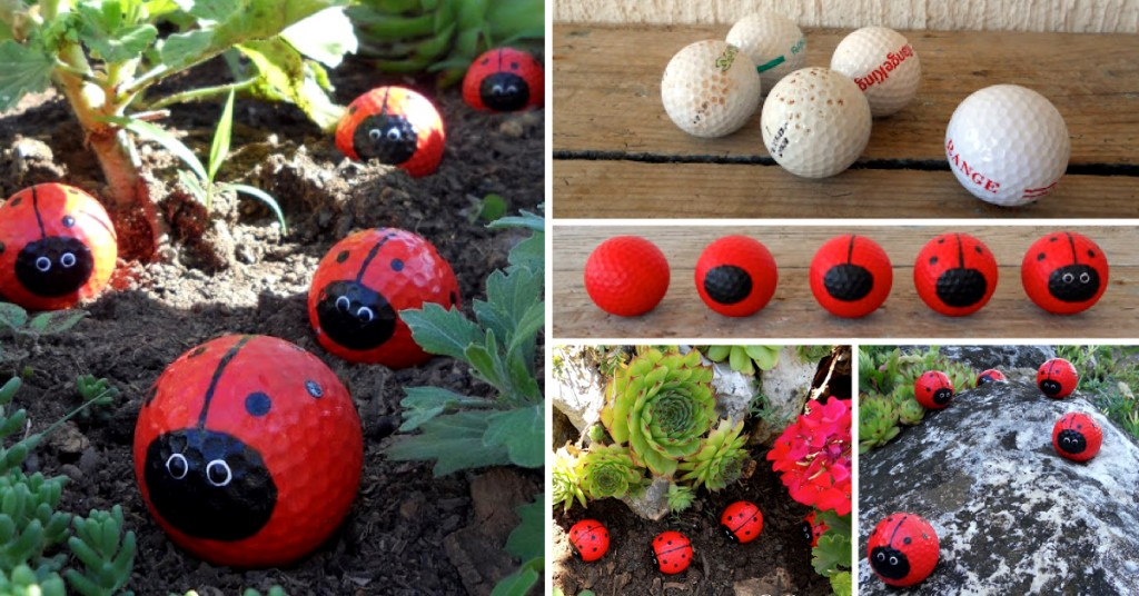 Golf balls converted into lady bugs