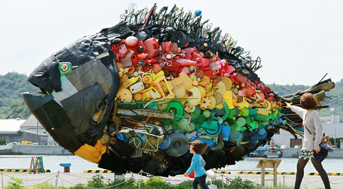 Fish sculpture filled with plastic