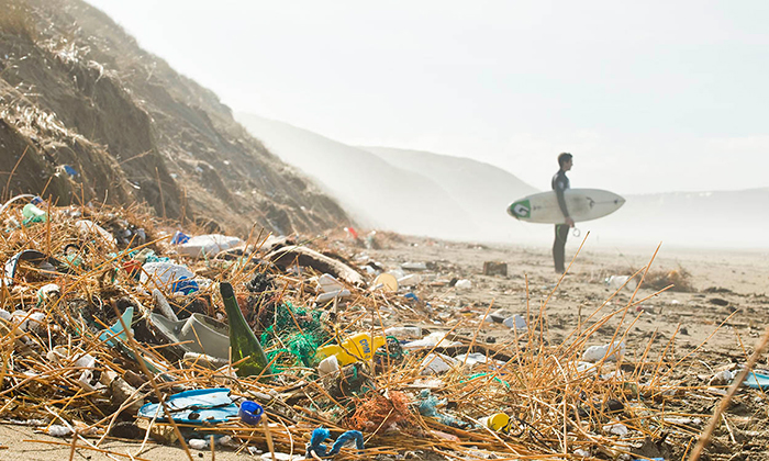 Beach full of plastic and a surfer
