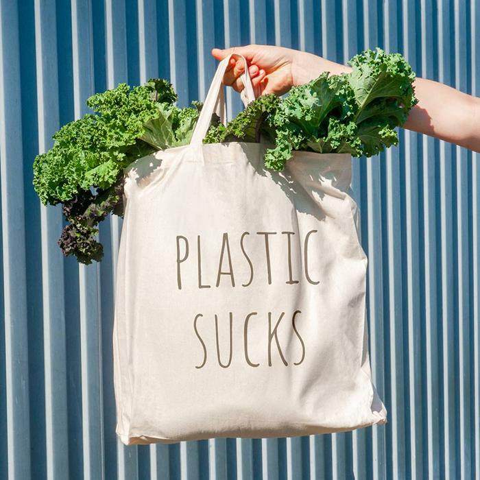 Reusable bag saying 'Plastic sucks'