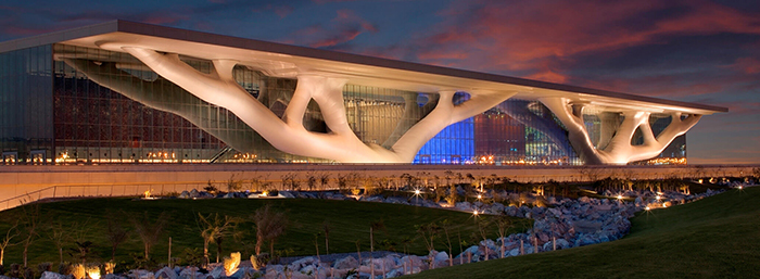 Qatar National Convention Center in Qatar during sunset