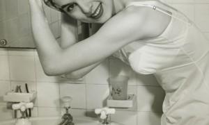 Retro girl washing her hair