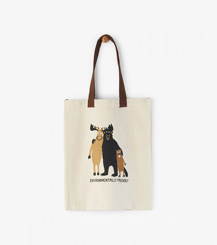 Reusable bag with animals hugging on it and with a sign saying Environmentally friendly