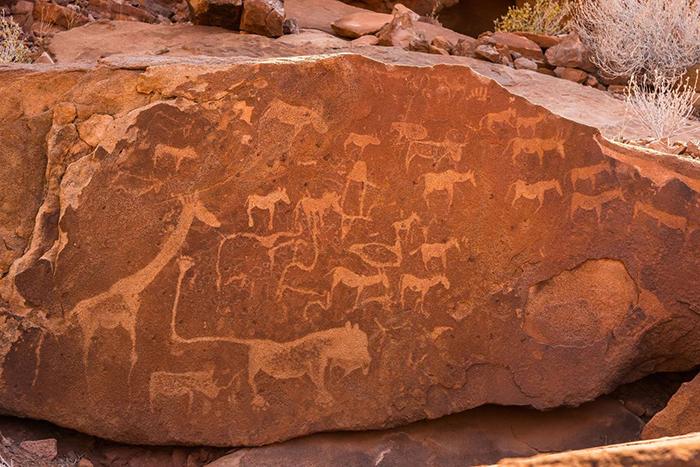 Animal ancient paintings on rocks
