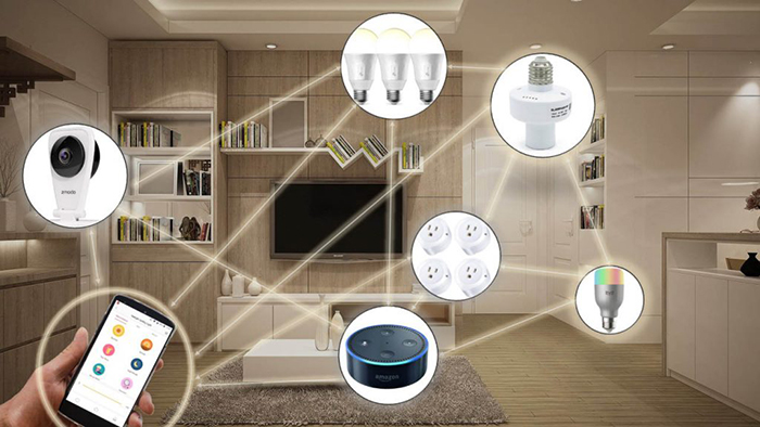 Smart home devices and a modern living room in the backgrounds