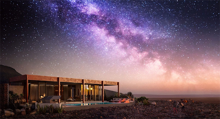 Fancy hotel in a desert in Namibia and a sky full of stars