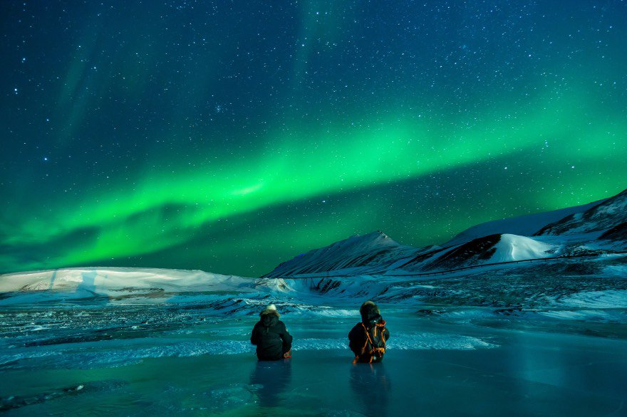 People looking at the Northern lights in Norway