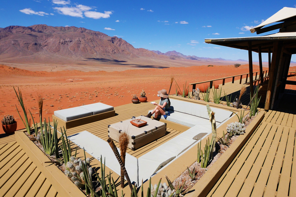 Woman in a desert lodge in Namibia