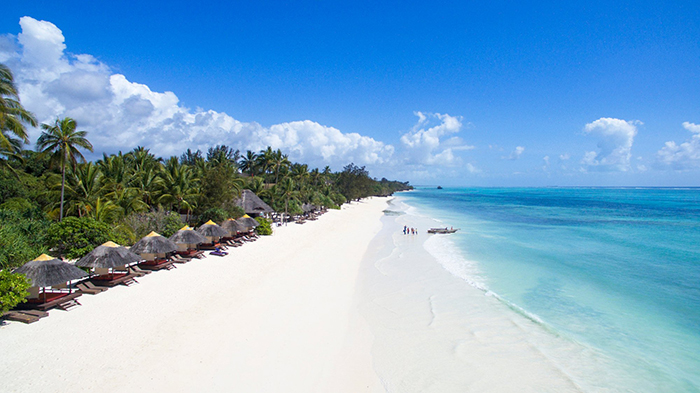 Beautiful beaches surrounded with palm trees