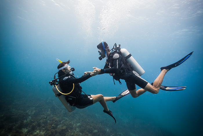 Couple diving in the waters of Jamaica