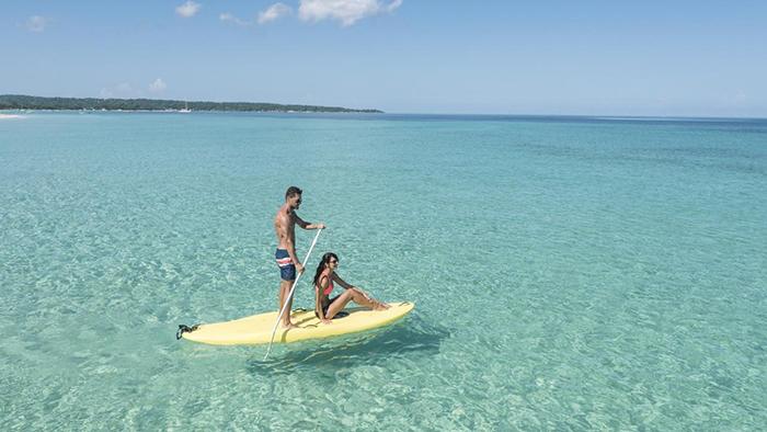 Couple having fun kayaking