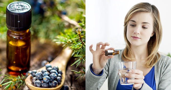 juniper essential oil and a woman adding drops of it in a glass of water