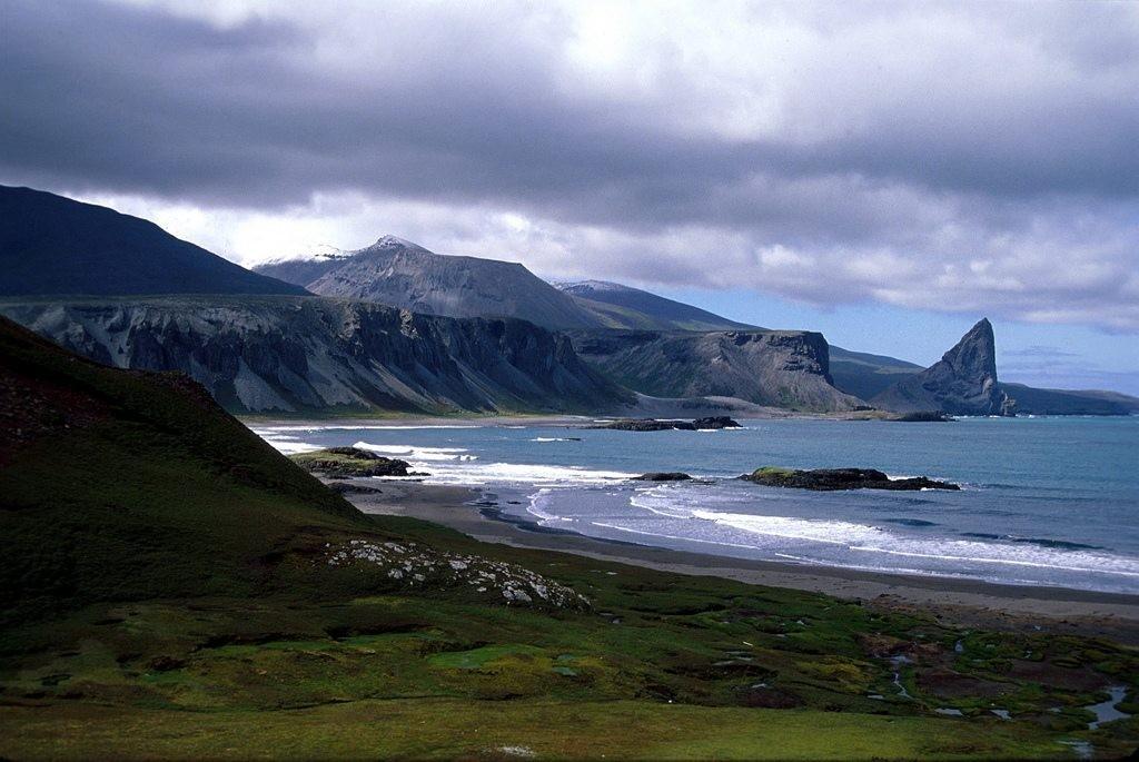 Kerguelen island on a cloudy day