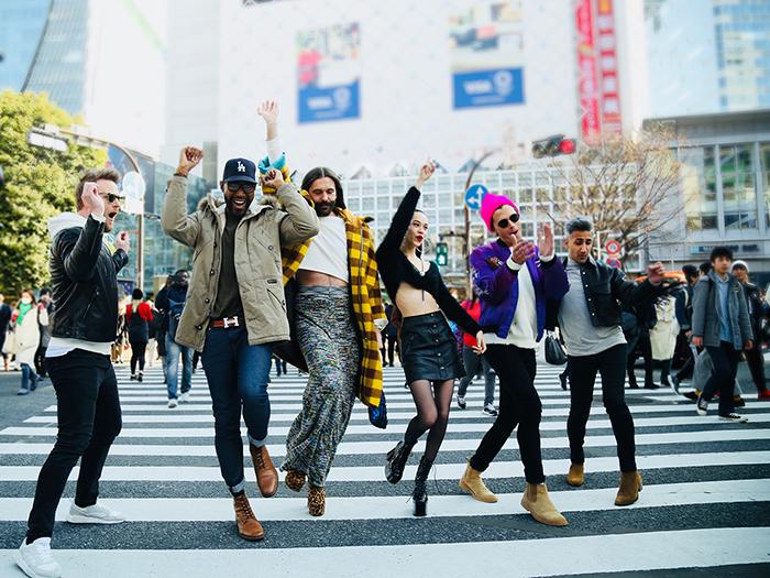Happy people on the street