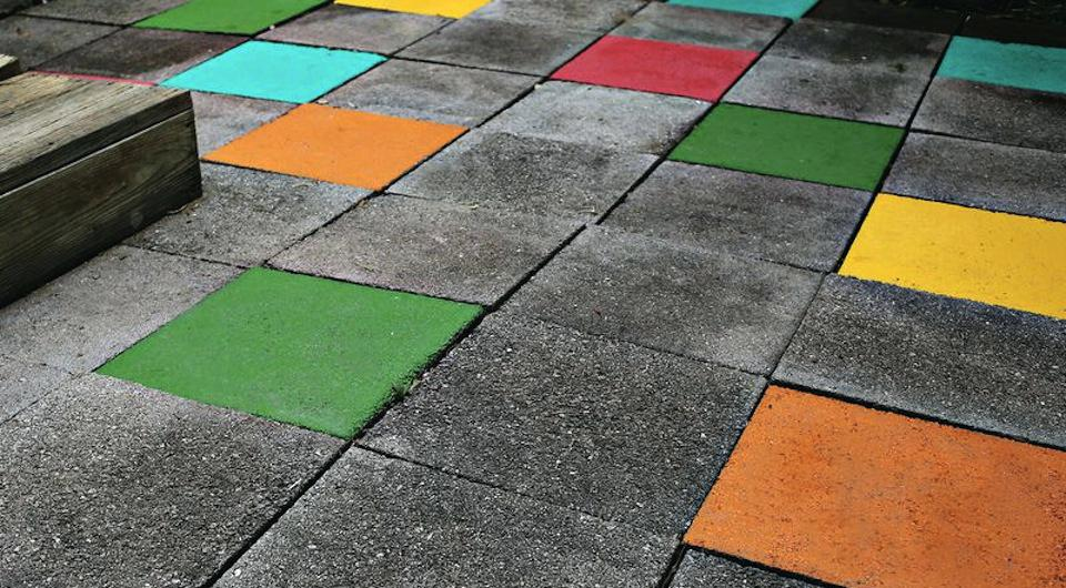 Cement blocks painted in different colors