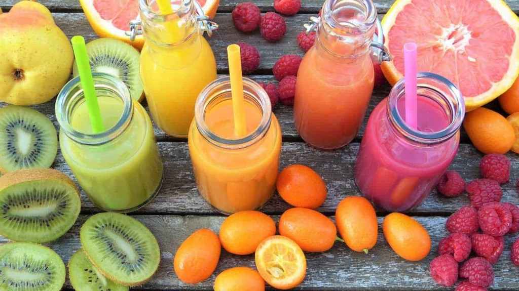 Different types of fruit smoothies