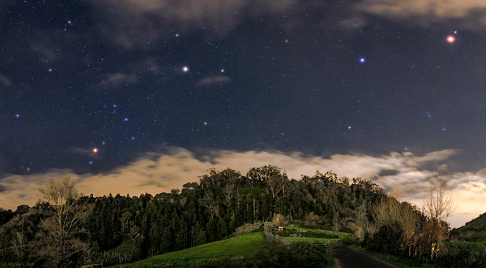 Beautiful night sky with stars in the Azores