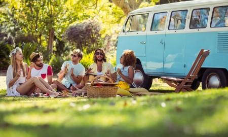 Friends having picnic outdoor