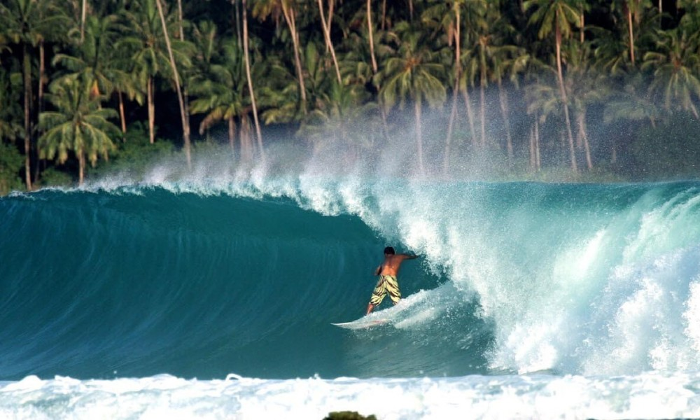 Man surfing on a big wave