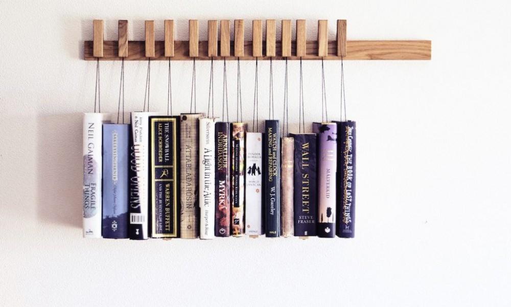 Hanging books on creative bookshelves