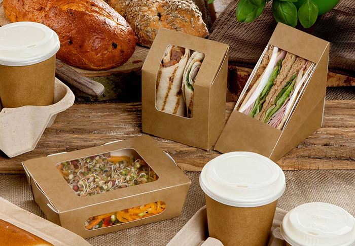 Eco sandwich boxes and coffee cups