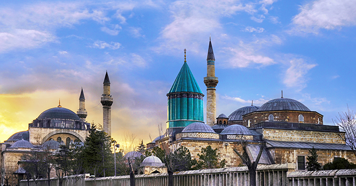 The masuleoum of Rumi and other mosques around it