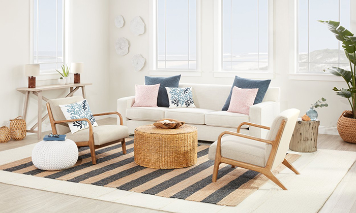 Cozy living room decor with striped carpet