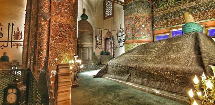 Interior of the mausoleum of Rumi