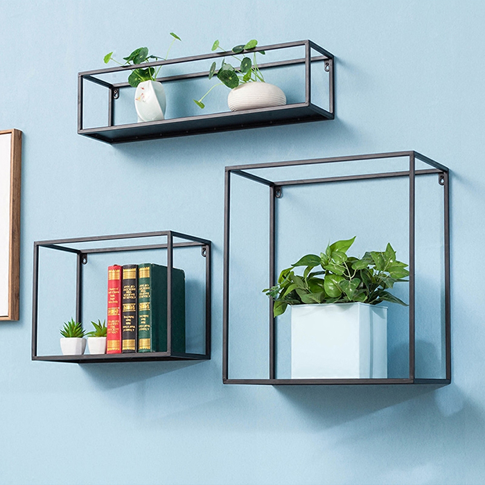 Metal square shelves with books and plants