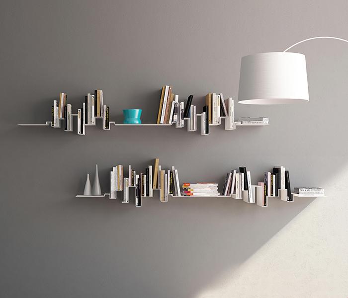 Modern skyline bookshelf