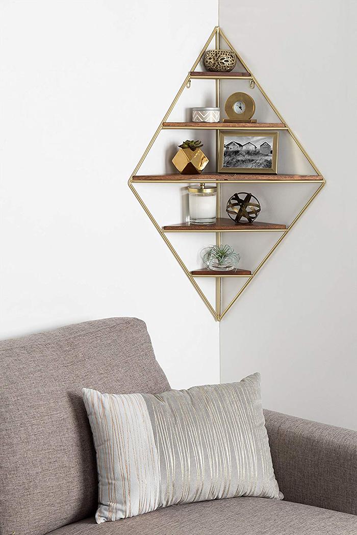 Modern metal corner shelf