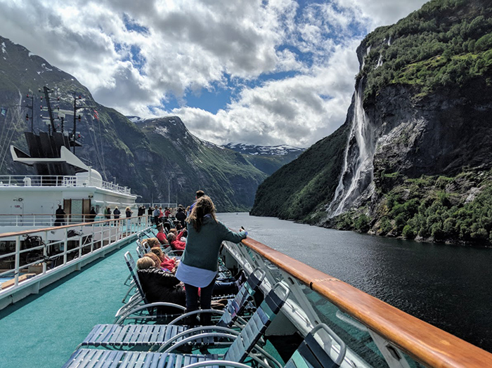 People enjoying their boat trip around the fjords