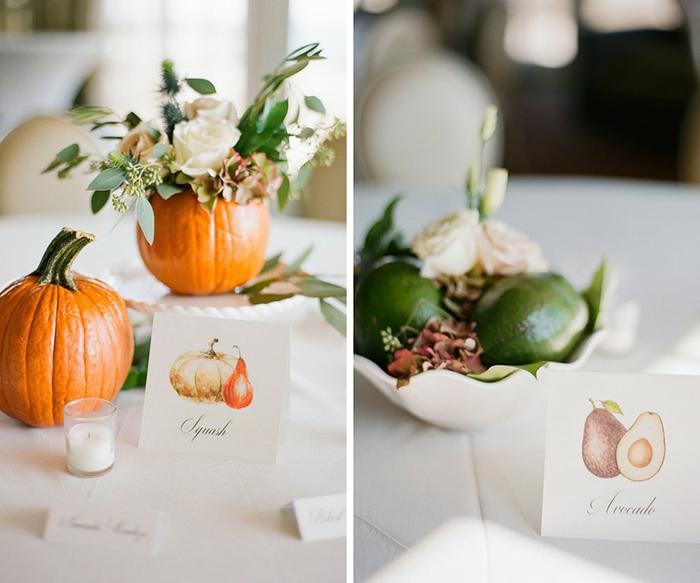Avocado and pumpkin as wedding table decor