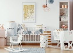 Cozy nursery room in pastel colors with white furniture