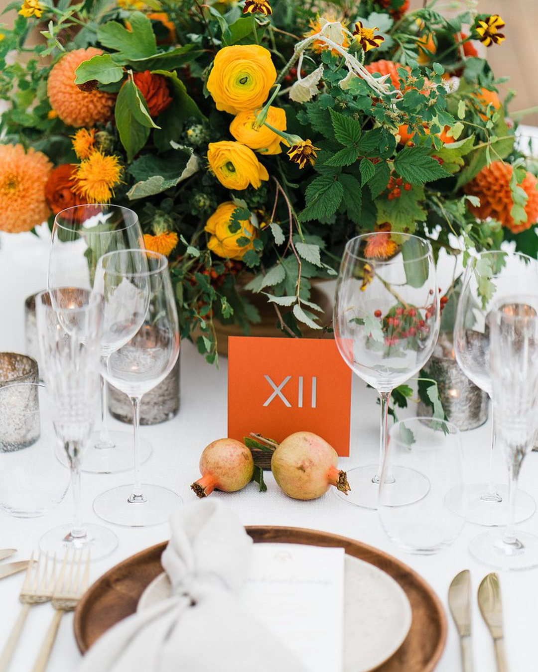Flowers and wine glasses